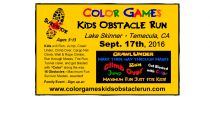 'Color Games Kids Obstacle Run' coming to Lake Skinner